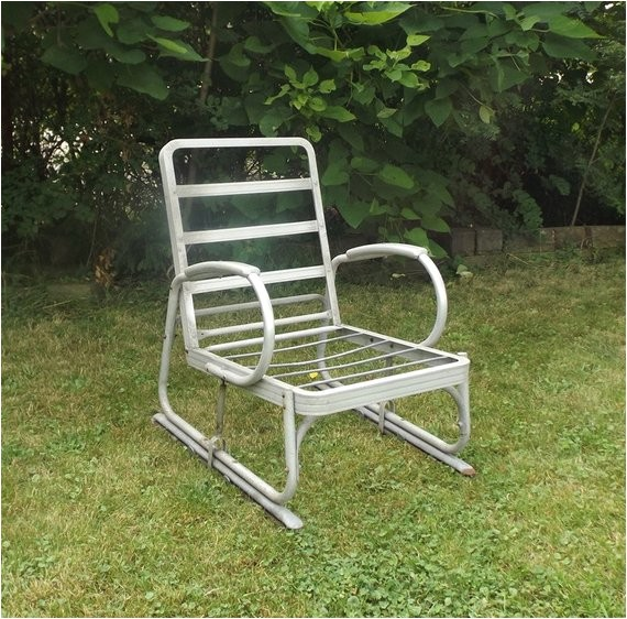 vintage 1940s aluminum glider lawn chair