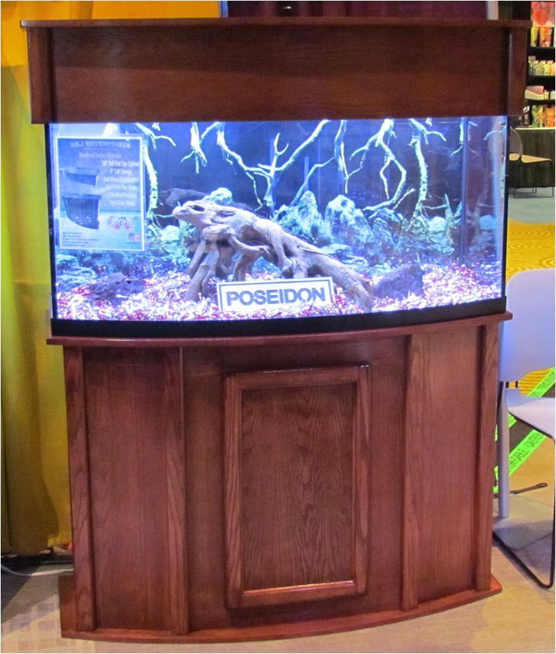 rj poseidon 72 gallon corner bow front aquarium stand