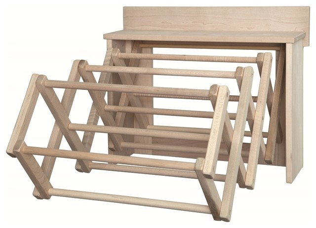 handmade amish maple folding drying rack wall unit 255 country clothes airers