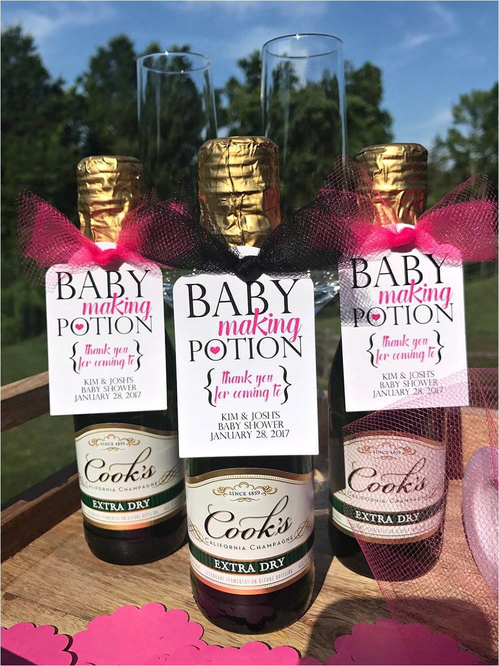 baby making potion baby shower wine tags