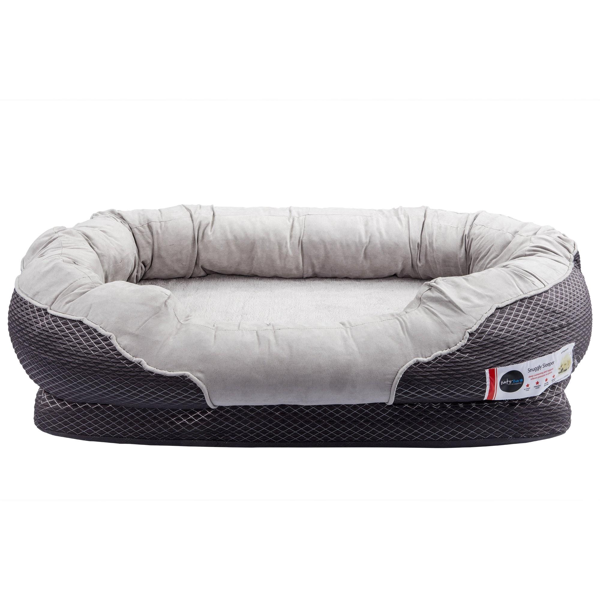 barksbar large gray orthopedic dog bed 40 x 30 inches snuggly sleeper with nonslip orthopedic foam