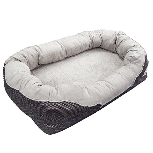 barksbar large gray orthopedic dog bed 40 x 30 inches snuggly sleeper with nonslip orthopedic foam