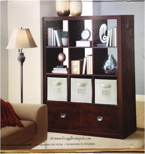 bayside furnishings 9 cube room divider with 2 drawers