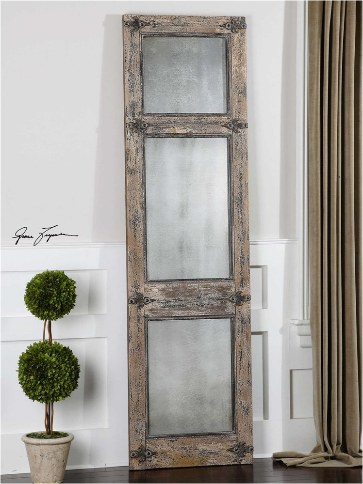 uttermost saragano leaner mirror in distressed blue