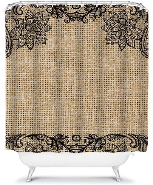 floral and lace burlap shower curtain