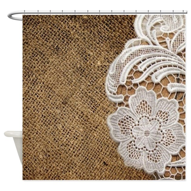 shabby chic burlap lace shower curtain 1624859008