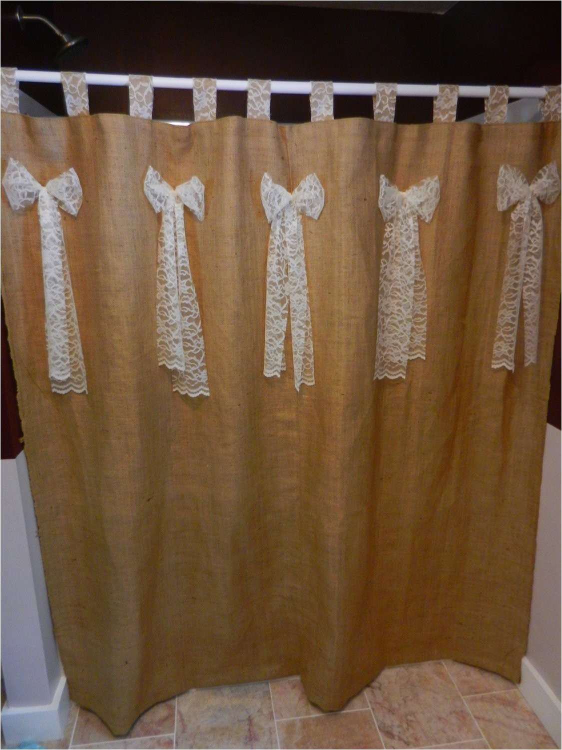burlap and lace tab shower curtain with