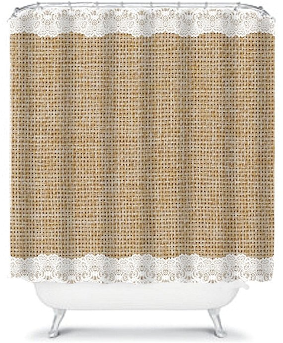 simple burlap and lace shower curtain