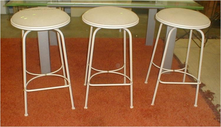 set of three charleston forge co iron bar stools 157 c 3fa4dce977