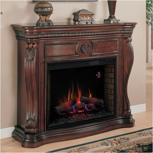 lexington 33 wall mantel and fireplace empire cherry classic flame p177