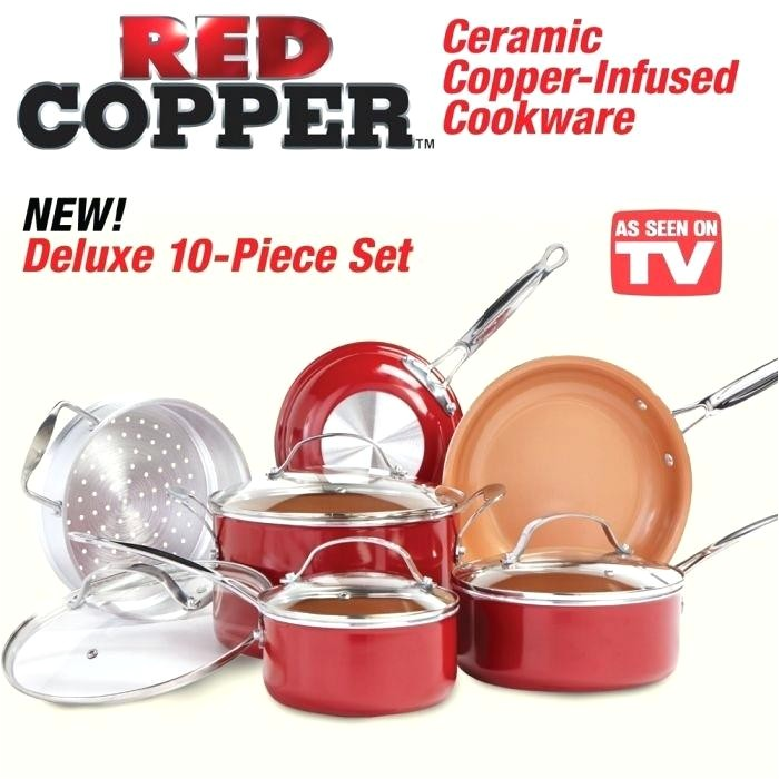 as seen on tv copper pan red 4 square deep dish ceramic 5 piece free shipping today overstock 10 frying