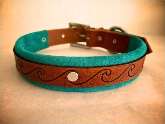 Custom Hand tooled Leather Dog Collars Handmade Leather Dog Collar with Hand tooled by theleafleather