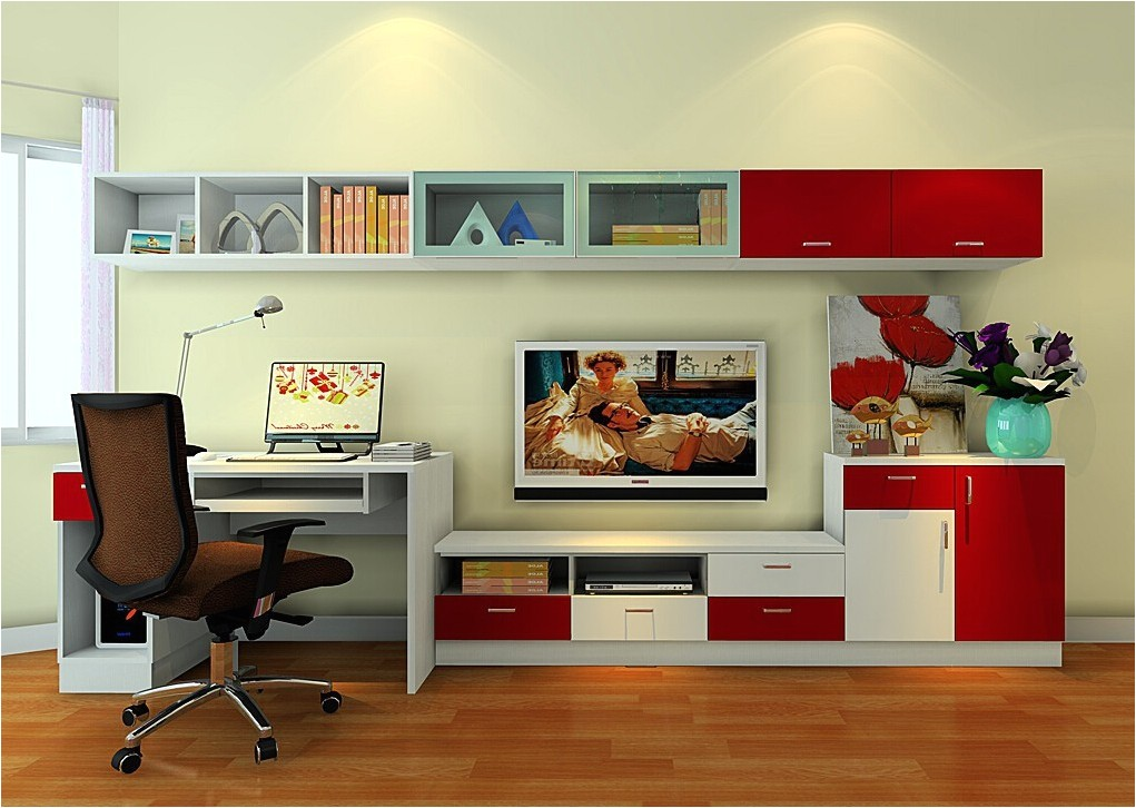 bedroom with tv and desk