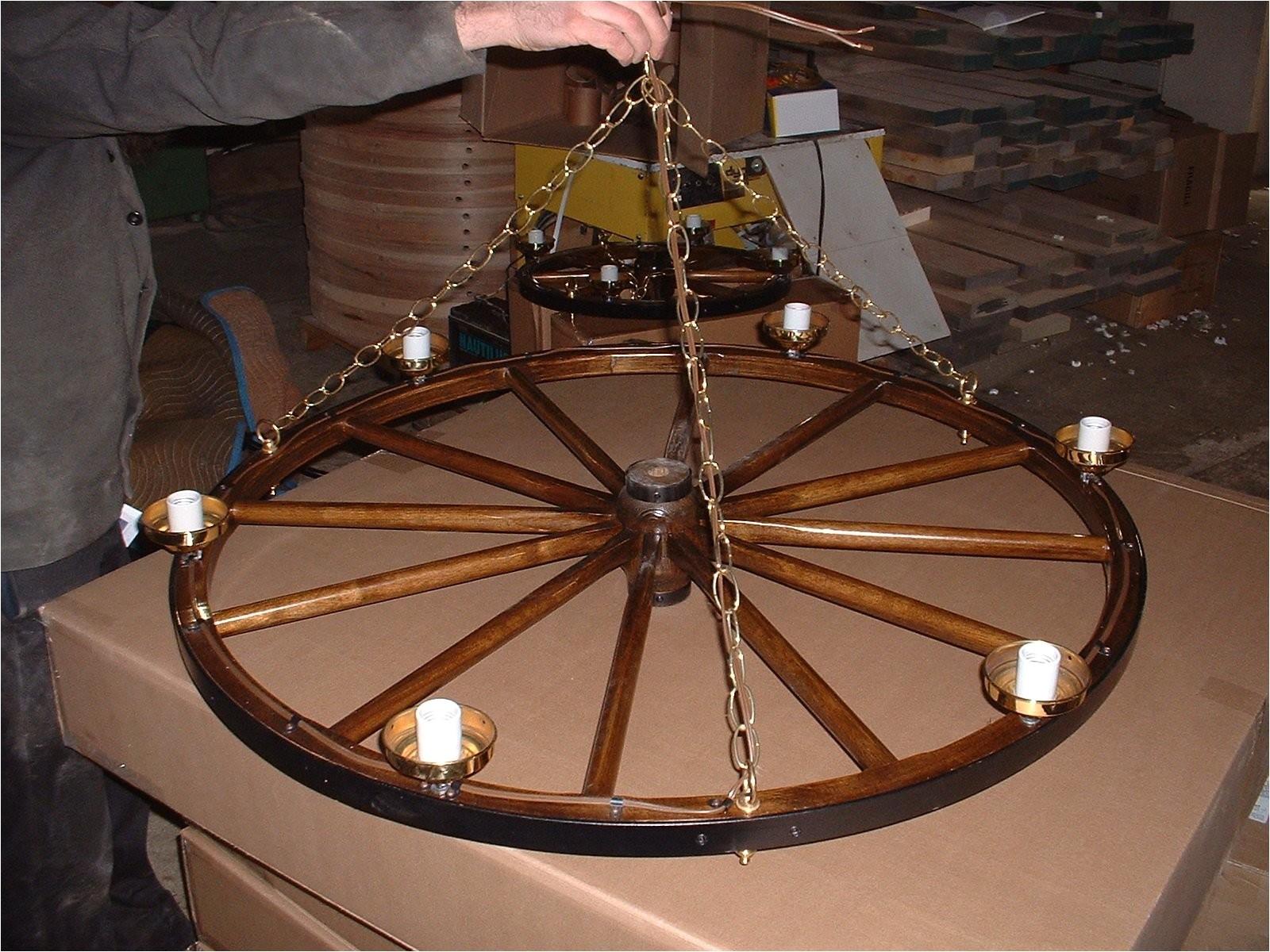 build wagon wheel chandelier