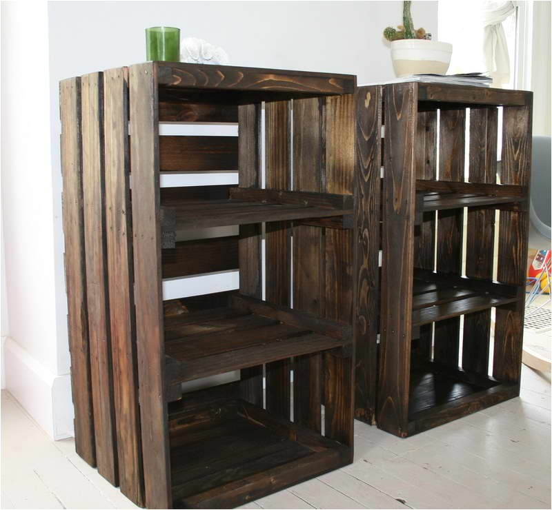 crates diy nightstand with green glass