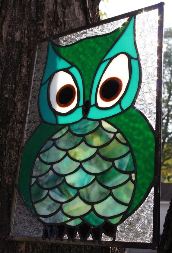 owl stained glass panel