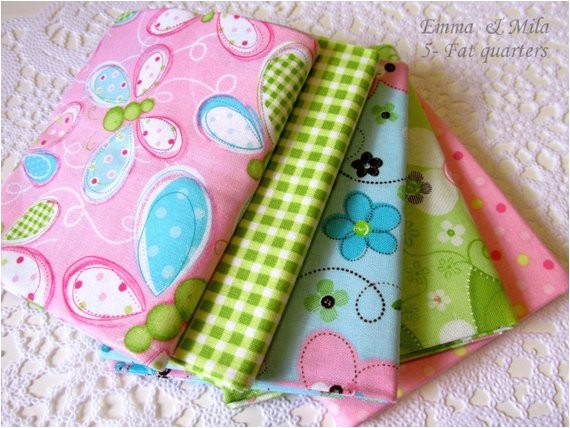 Emma and Mila Fabric Fat Quarter Bundle Of Five 5 Cotton Fabric by Suppliesstall