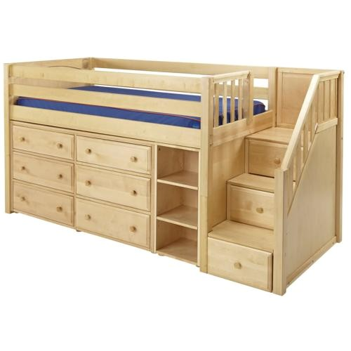 great 1 storage bed with stairs in natural by maxtrix
