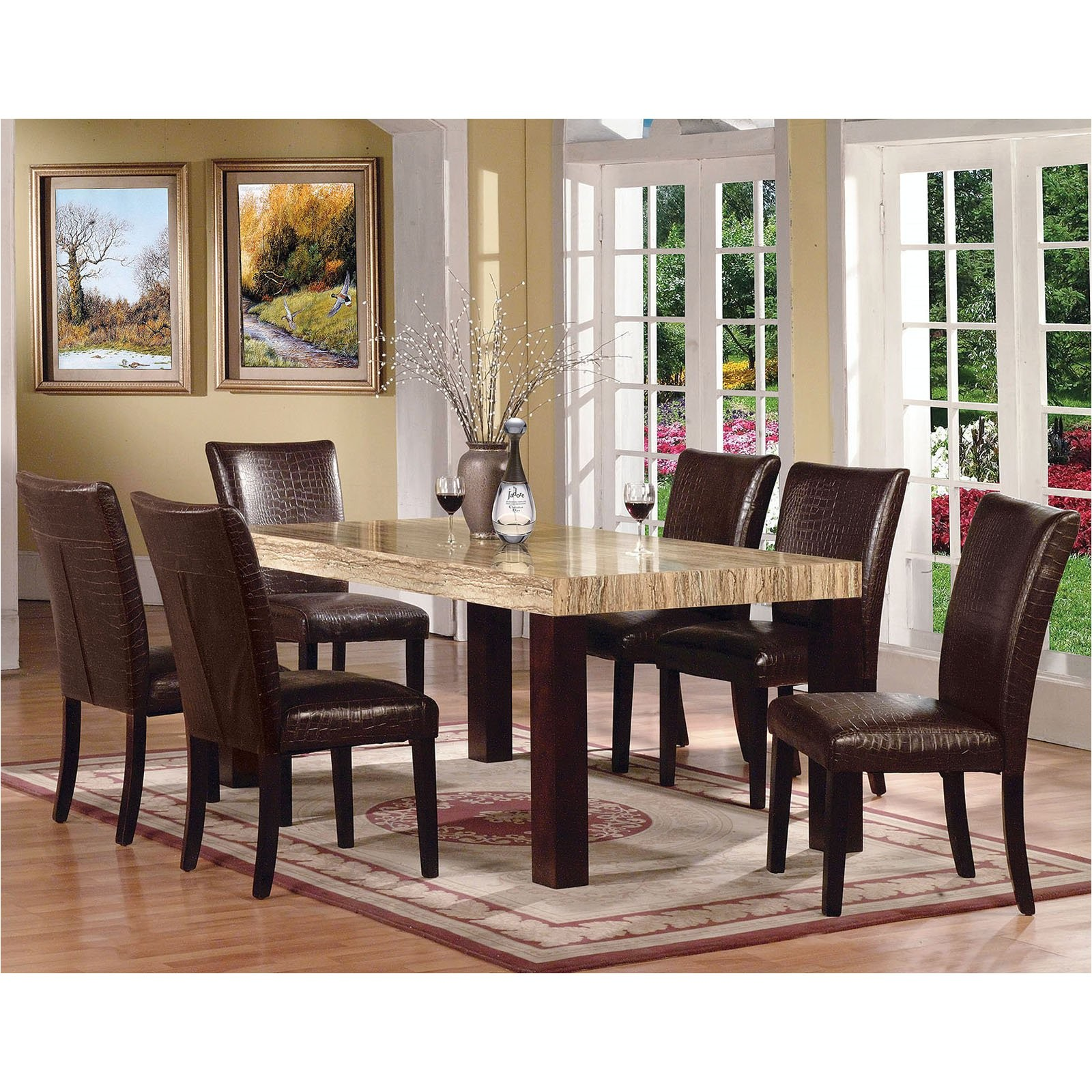 acme furniture fraser 7 piece rectangular dining table set cfm