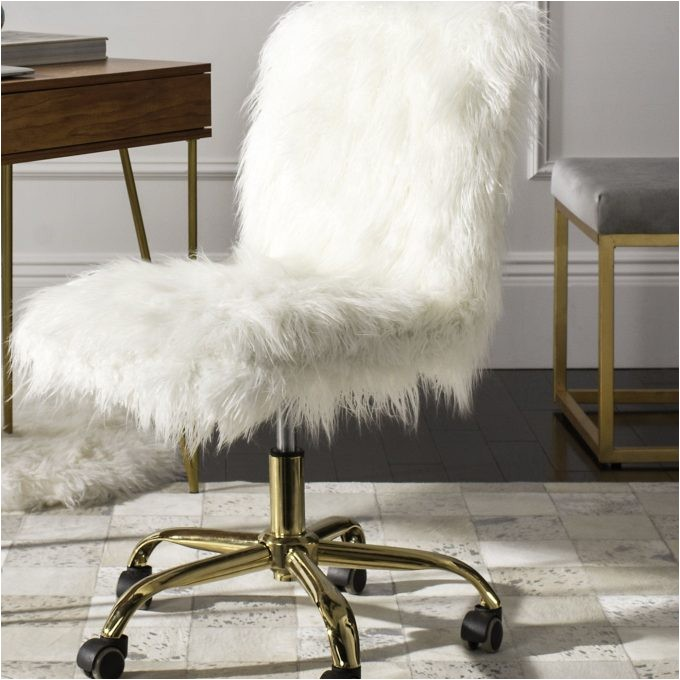 lovely white fur desk chair for your home office decor