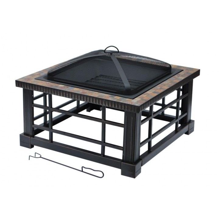 best hampton bay woodspire 30 in square slate steel fire pit ftb 51374 hampton bay fire pit replacement parts image