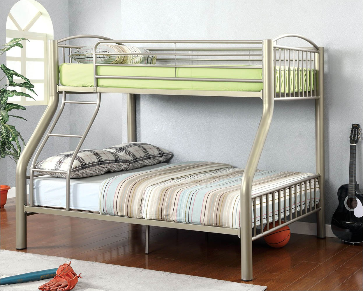 heavy duty silver twinfull metal bunk bed with mattress p 2682