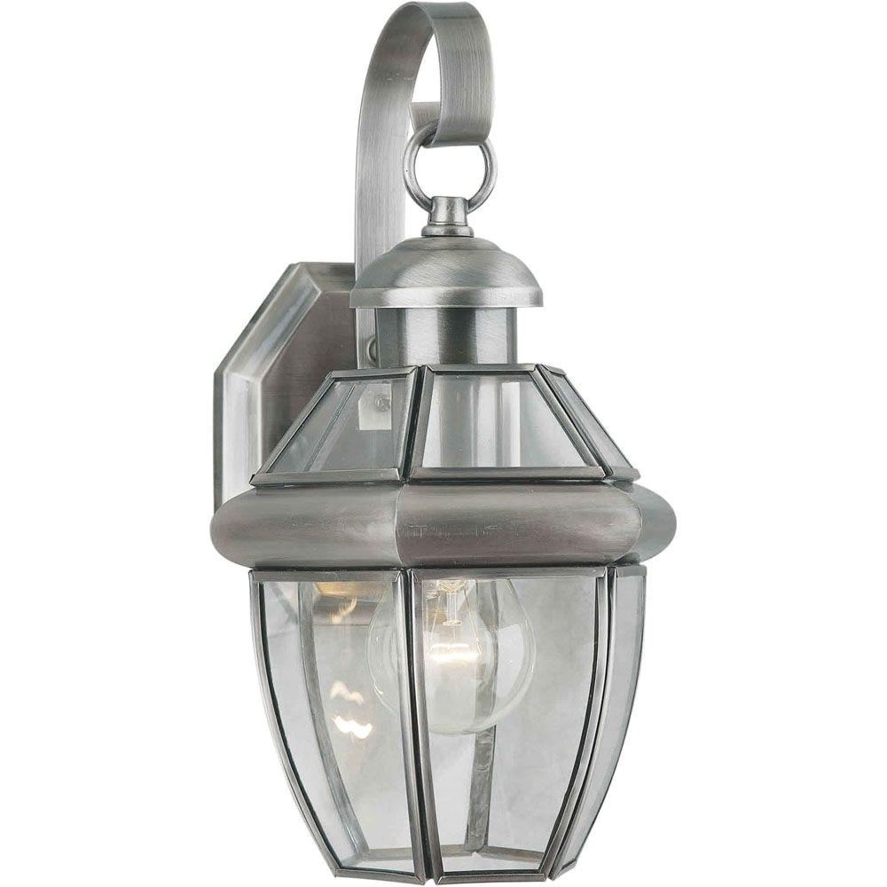 p burton 1 light antique pewter outdoor incandescent wall light 1000675391