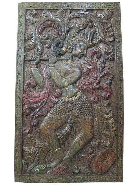 krishna carving wall hanging panel