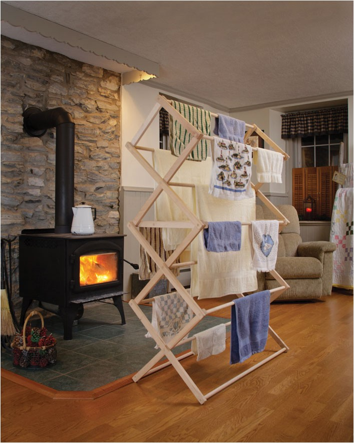 folding wooden clothes drying rack