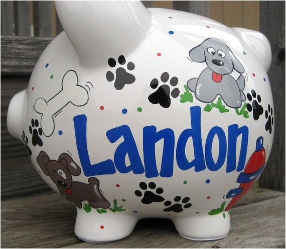 puppy dog personalized piggy bank large