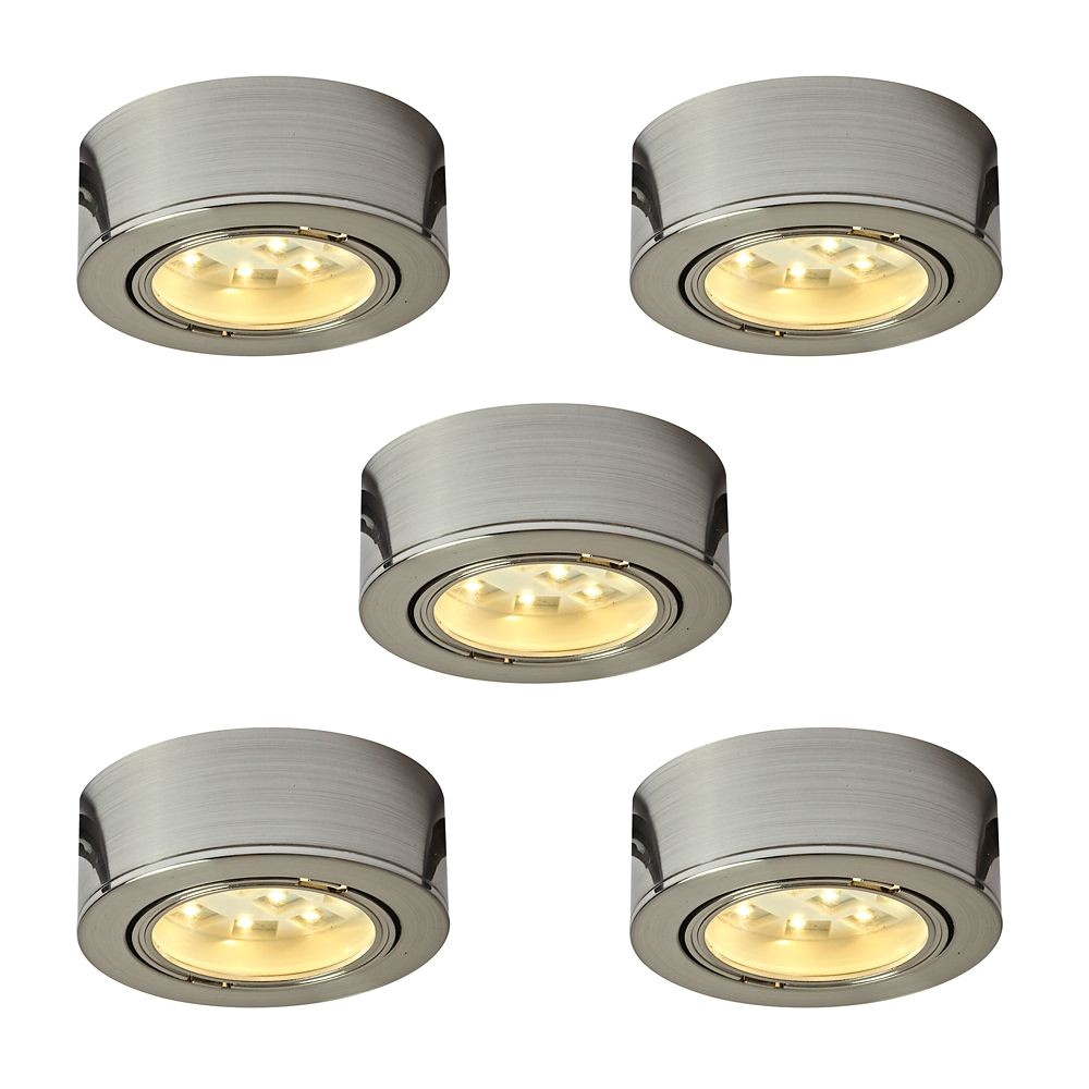 p illume kit of 5x 120v plastic led pucks satin nickel 1001000502