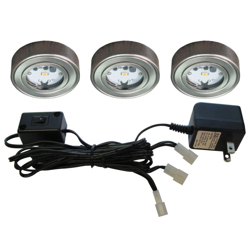 Led Puck Lights Home Depot Enviro Satin Nickel Metal Led Puck Light 3 Pack I