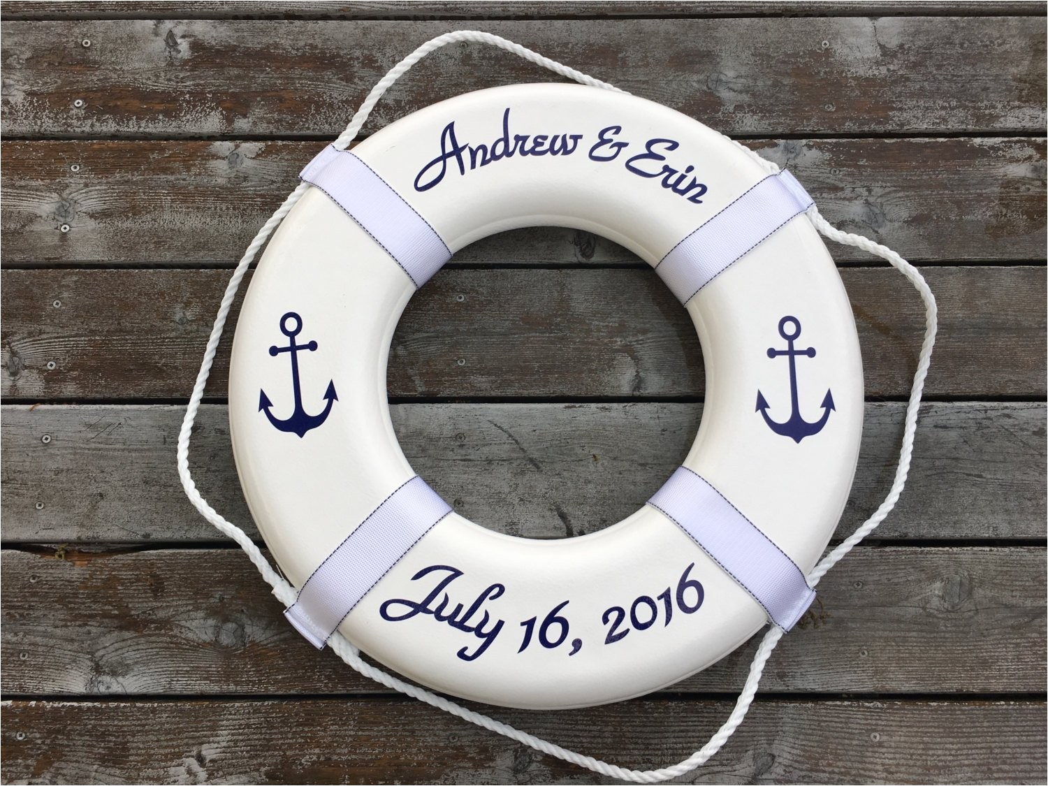 personalized nautical ring buoy with