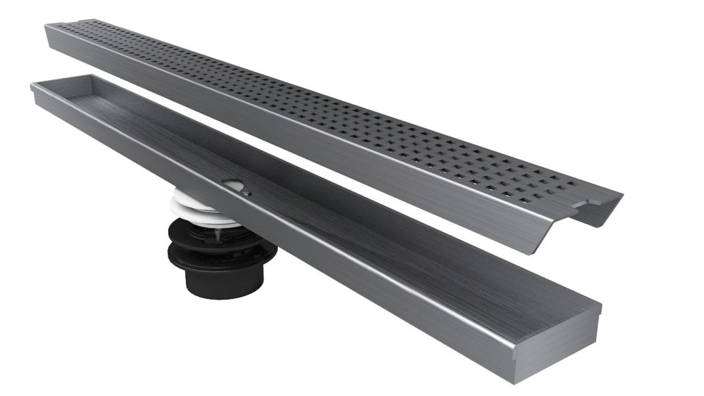 p geotop linear shower drain 30 inch length in a brushed satin stainless steel finish 1000805416
