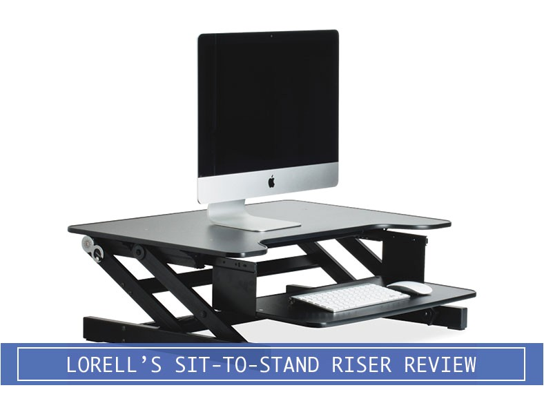 lorell sit stand monitor riser desk converter review