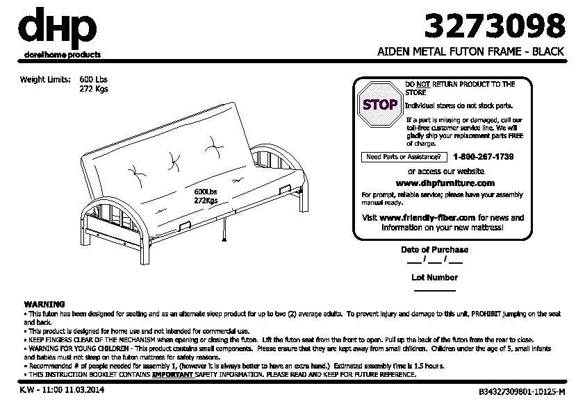 Mainstays Black Metal Arm Futon assembly Instructions Mainstays Metal Arm Futon Instruction Manual Bm Furnititure