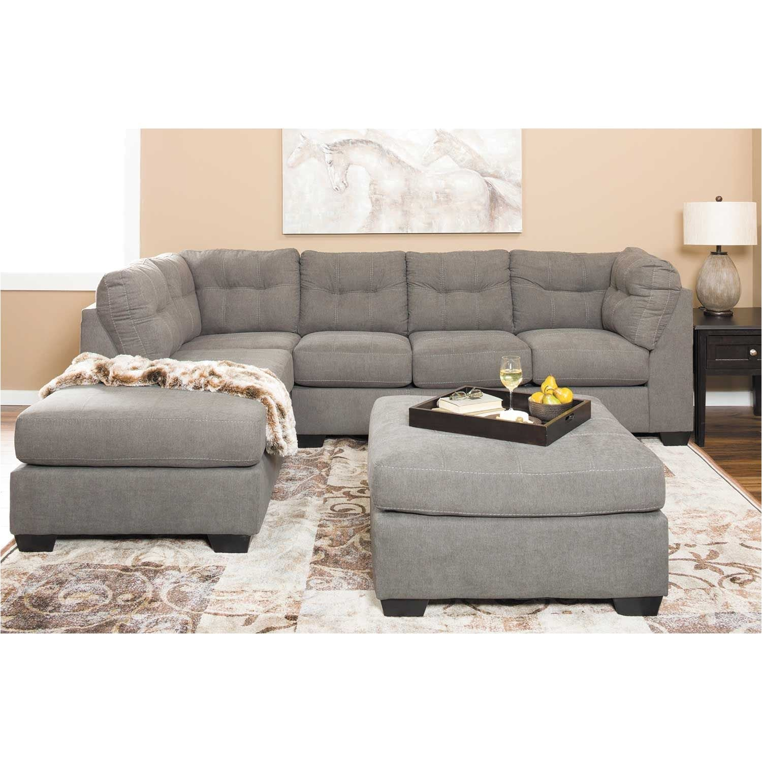 charcoal 2pc sectional with laf chaise
