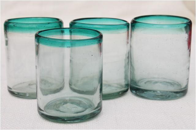 hand blown mexican glass drinking glassesset of 4 aqua band heavy glass tumblers laurel leaf farm item no nt919134