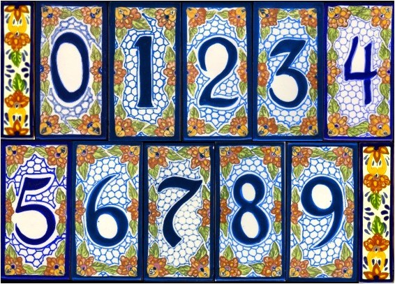 house number tile and frames
