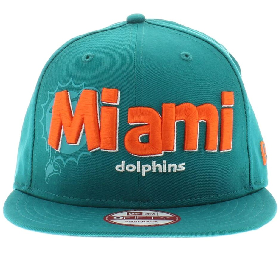 19 miami dolphins nfl team colors the dough word snapback new era 950 9fifty