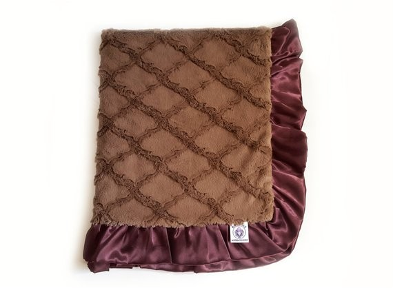 minky adult blankets chocolate and brown