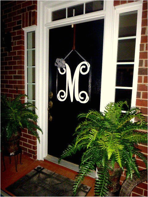 initial monogram front door wreath metal monogram letter 24 tall over 25 colors choices ribbon choices double door wreath