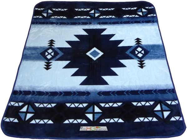 southwest blue queen plush blanket