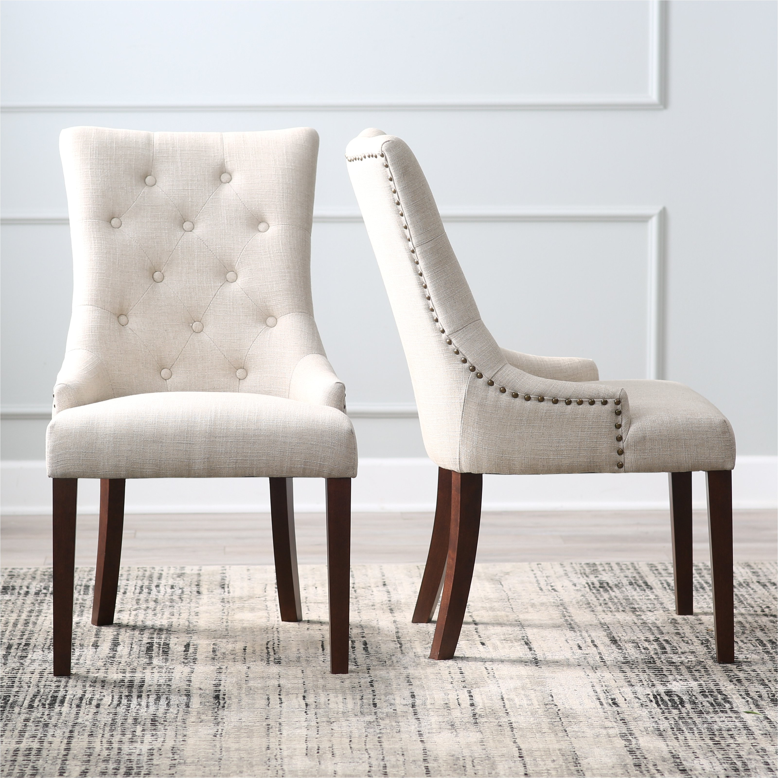 belham living thomas leather tufted tweed dining chairs set of 2 cfm