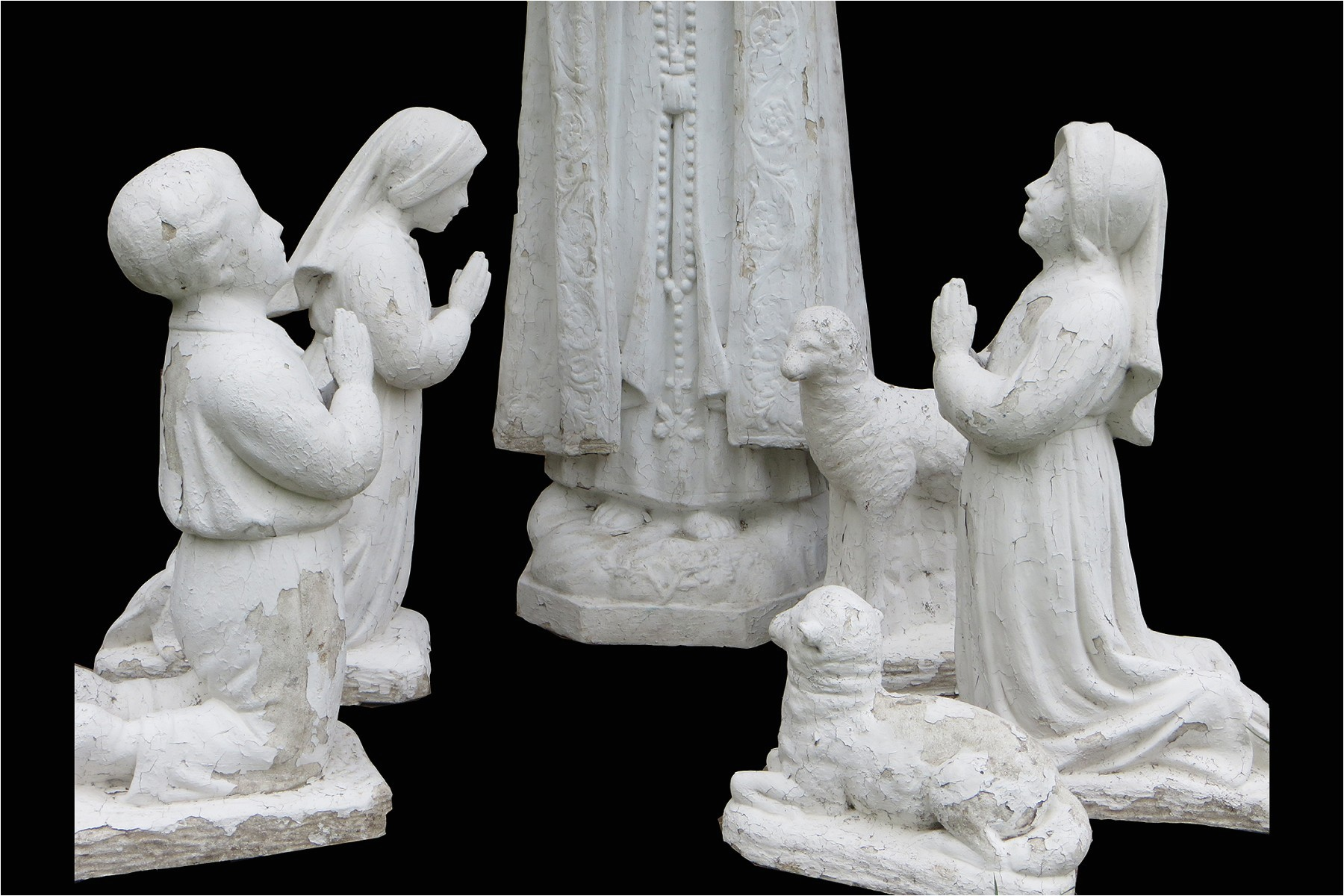 vintage catholic concrete outdoor our lady of fatima statue set
