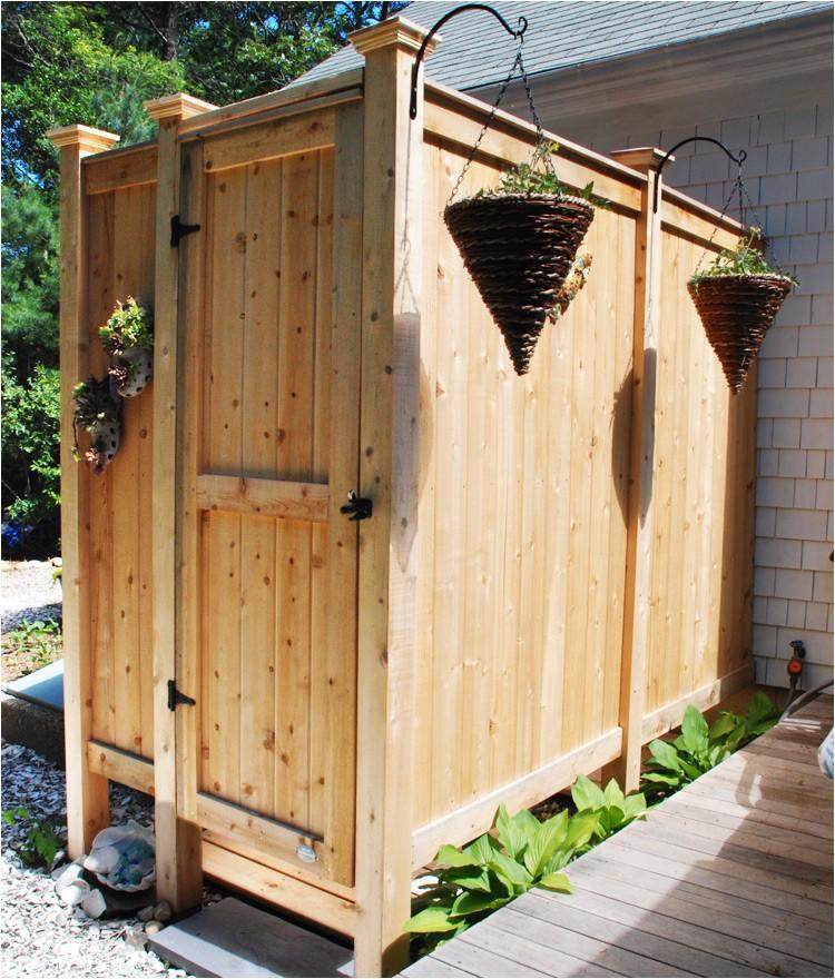 outdoor shower stall cedar deluxe hm