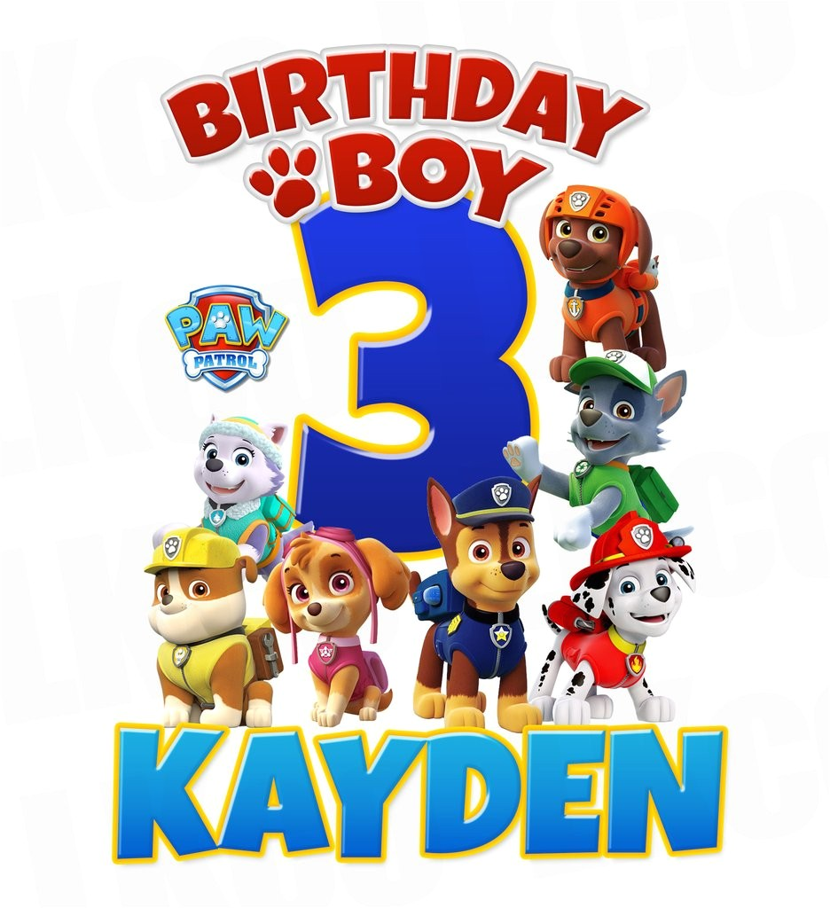 paw patrol iron on transfer for birthday shirt printable image for any name age 04