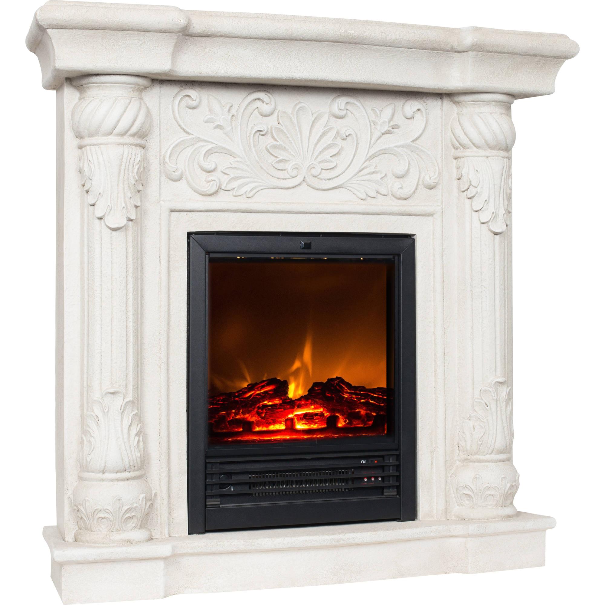 26 polyfiber electric fireplace tan