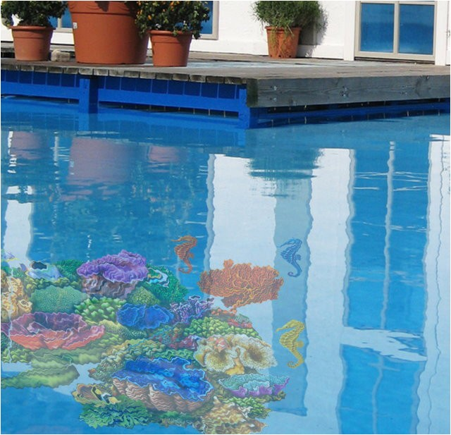 pool decal seahorse group for concrete pools