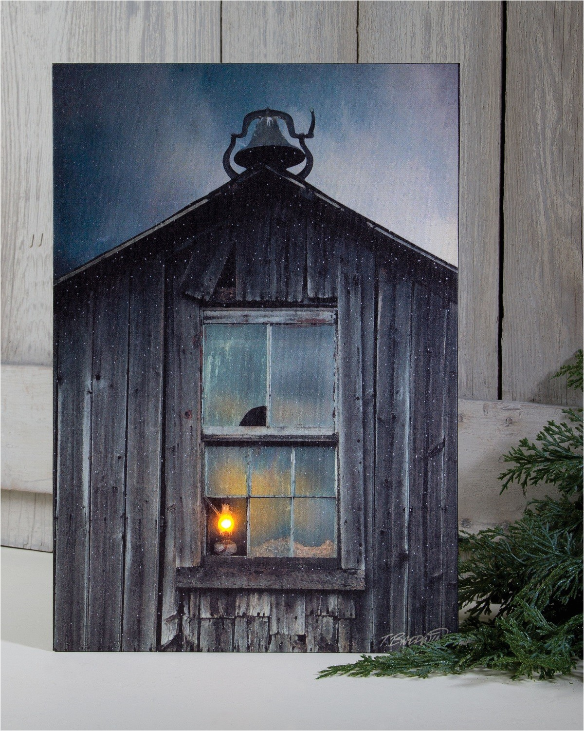 radiance lighted canvas w timer old school house with bell